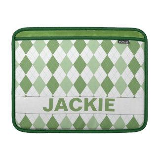 Grön Argyle MacBook för anpassade sleeve MacBook Sleeve
