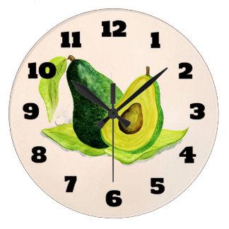 Grön avokadostillebenfrukt i vattenfärger stor klocka