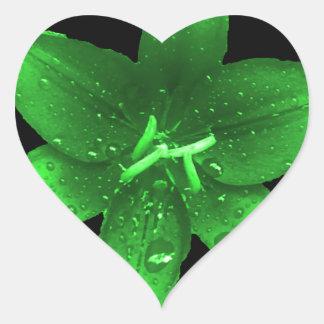 Grön avundlilja hjärtformat klistermärke