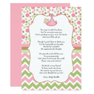 Grön baby showertackkort w/poem för rosor 12,7 x 17,8 cm inbjudningskort