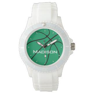 Grön basketkvinna känd vit för spelare eller för armbandsur