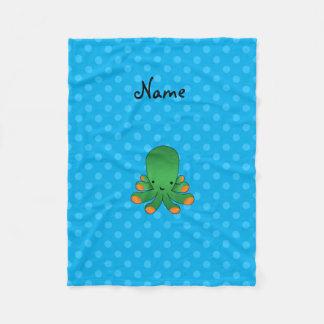 Grön bläckfisk för blåttpolka dots fleecefilt