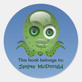 Grön bläckfisk personifierade etiketter