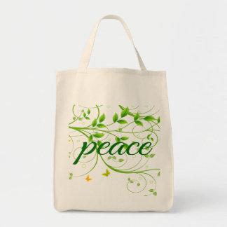 Grön blom- fredstecken mat tygkasse