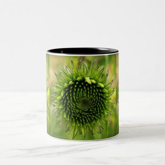 Grön blomma Två-Tonad mugg