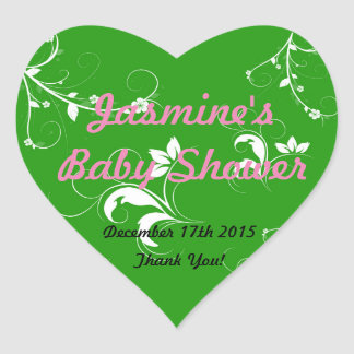 Grön blommigt för baby shower hjärtformat klistermärke