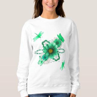 Grön blommigt för smaragd tröjor