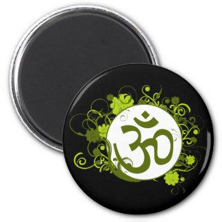 Grön blommigt Om för buddist Kylskåpmagneter