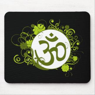 Grön blommigt Om för buddist Musmatta