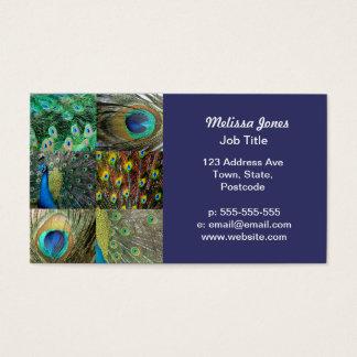Grön collage för blåttpåfågelfoto visitkort