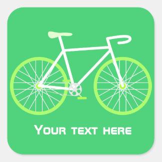 Grön cykel fyrkantigt klistermärke