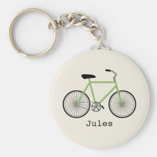 Grön cykel Keychain Rund Nyckelring