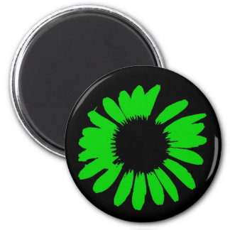 Grön daisy magnet rund 5.7 cm