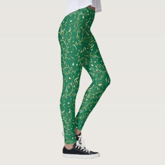 Grön damasker för guld- jul för musik noter leggings