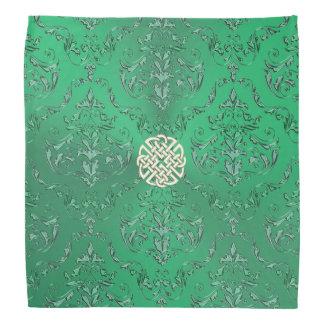 Grön damast för irländare med den guld- Celtic Bandana