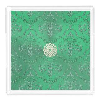 Grön damast för irländare med den guld- Celtic Bricka