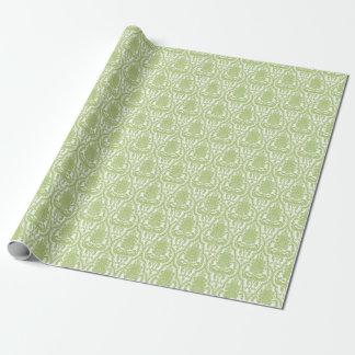 Grön damast för shabby chic presentpapper