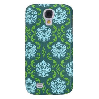 Grön damastast iphone 3 fodral för blått
