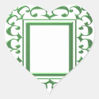 GRÖN dekorativ gräns: Mång- användor för tänka Hjärtformat Klistermärke