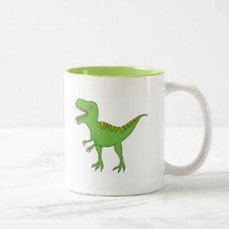 Grön Dinosaur+Personifiera namn Två-Tonad Mugg