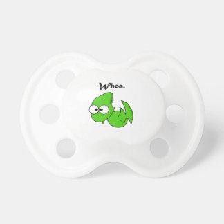 Grön DinosaurPterodactyl eller drakeWhoa tecknad Napp