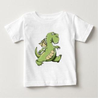 Grön drake för tecknad som går på hans tillbaka t shirts