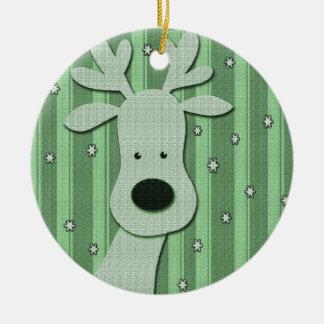 Grön elegant ren rund julgransprydnad i keramik