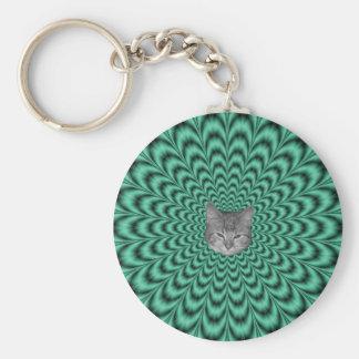 Grön explosion för hav + Katt Rund Nyckelring