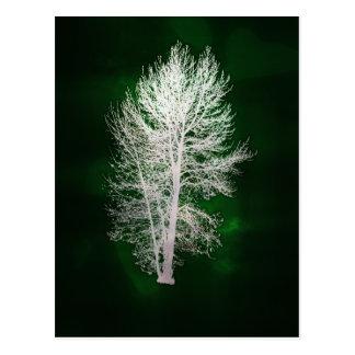 Grön faux-metallisk trädvykort vykort