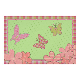Grön fjärilsaffisch för rosor poster