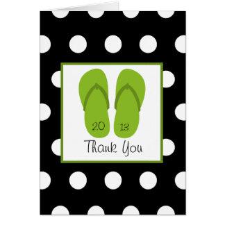 Grön flinflip flops/polka dotsstudententack hälsningskort