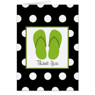 Grön flinflip flops/svart med vitpolka dots hälsningskort