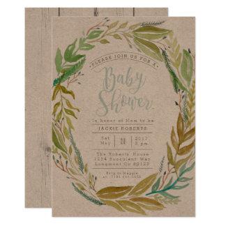 Grön för vattenfärgbaby shower för trädgård   12,7 x 17,8 cm inbjudningskort