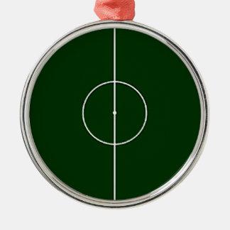 grön fotbollsarena rund silverfärgad julgransprydnad