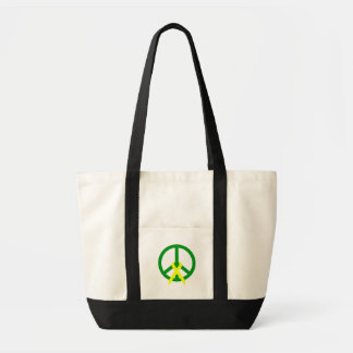 Grön fred & band tote bags