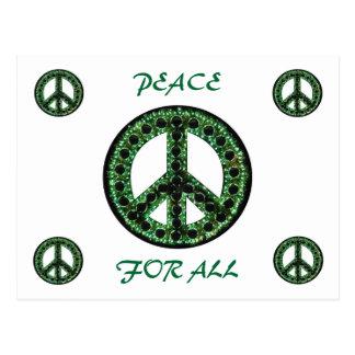 grön fred för all vykort