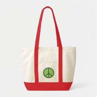 Grön fred hänger lös tote bags