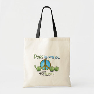 Grön fred tote bags