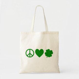 Grön fredkärlek & Shamrocks Tygkassar