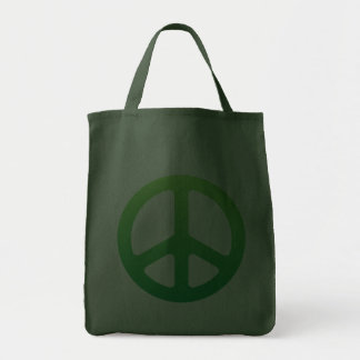 Grön fredstecken tote bags