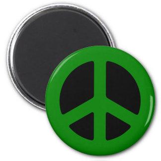 Grön fredstecken magnet rund 5.7 cm