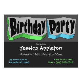 Grön galen coola blåttfödelsedagsfest inbjudan