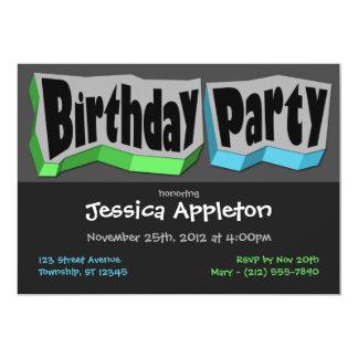 Grön galen coola & blåttfödelsedagsfest inbjudan