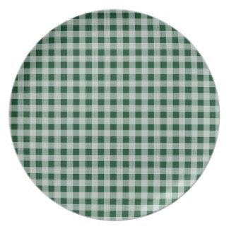 Grön Gingham för skog; Rutigt Dinner Plates
