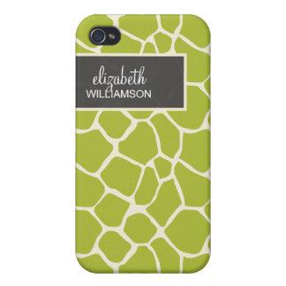 Grön giraff Pern för limefrukt iPhone 4 Skal
