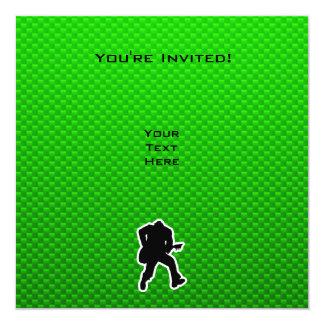 Grön gitarrist fyrkantigt 13,3 cm inbjudningskort