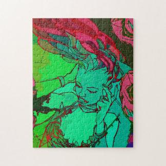 Grön grafittiflicka pussel