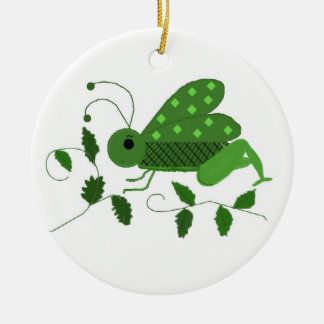 Grön gräshoppa julgransprydnad keramik