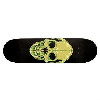 Grön grina skalle på den svart skateboarden old school skateboard bräda 18 cm