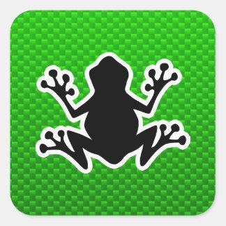 Grön groda fyrkantiga klistermärken